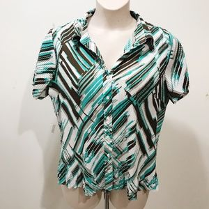 Fred David Size XL Blouse Green Brown Abstract